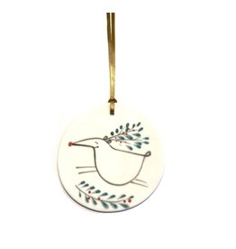 Karo Art Porcelain Reindeer Disc Christmas Decoration