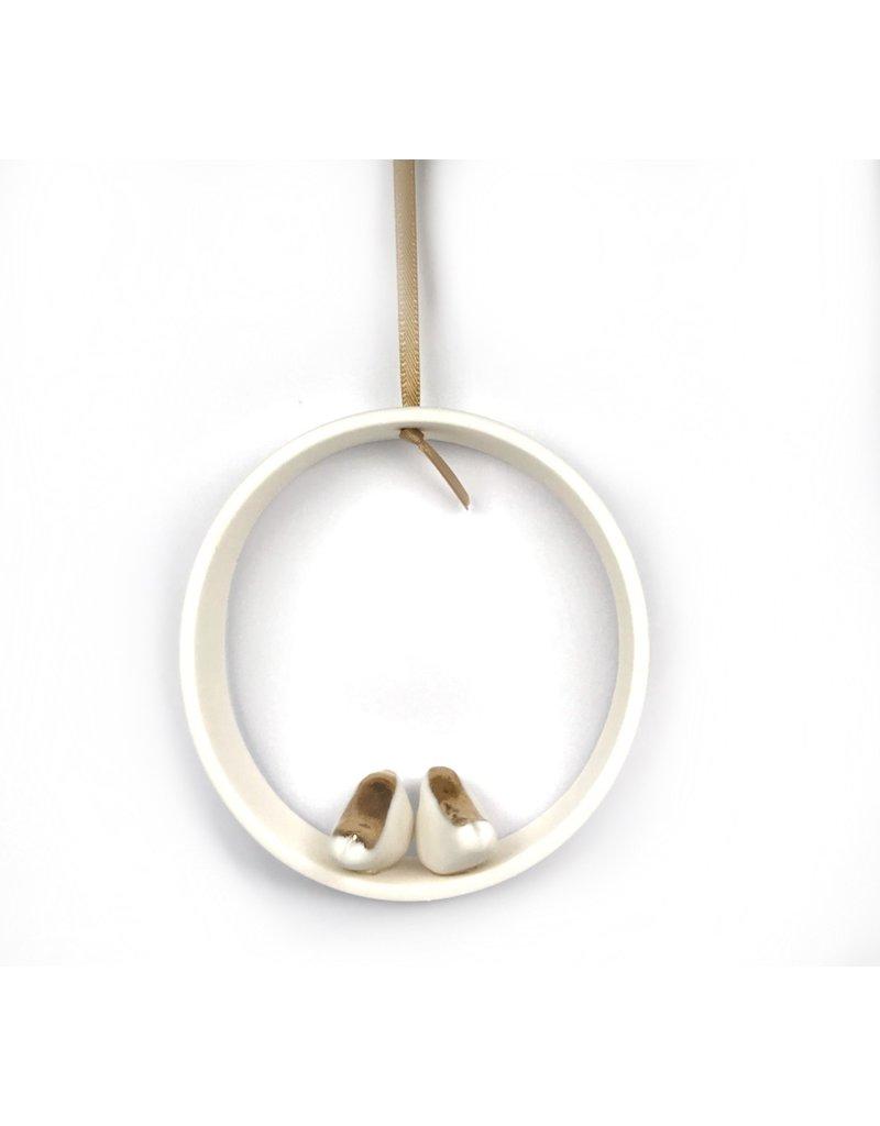 Karo Art Porcelain Hoop Ornament- Side by Side Love Birds