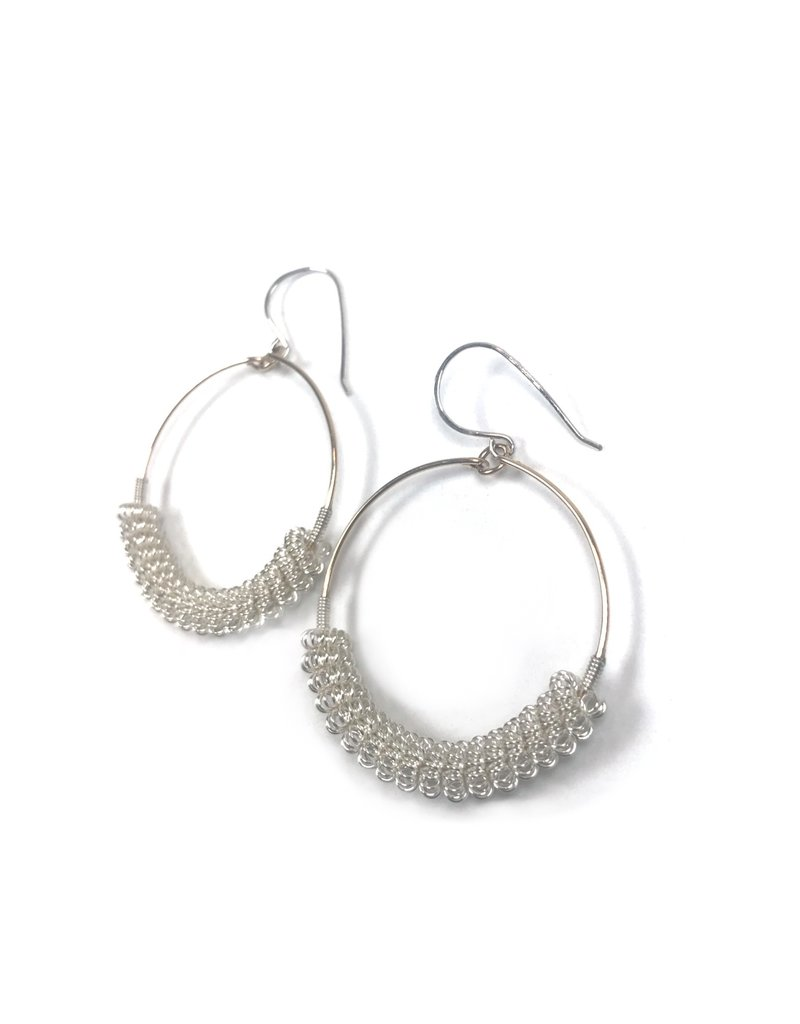 NUA Catkin Hoop Earrings - Silver