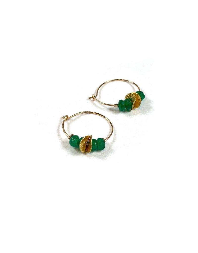 Vivien Walsh Gold Mini Hoop Earrings Emerald