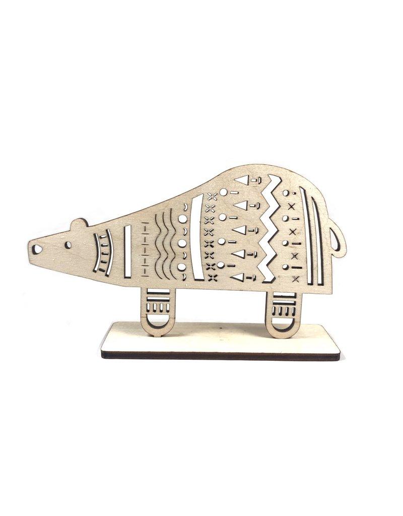 Snow Cosy Polar Bear Wood Decoration