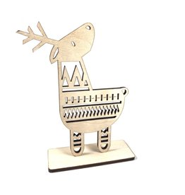 Snow Cosy Deer Wood Decoration