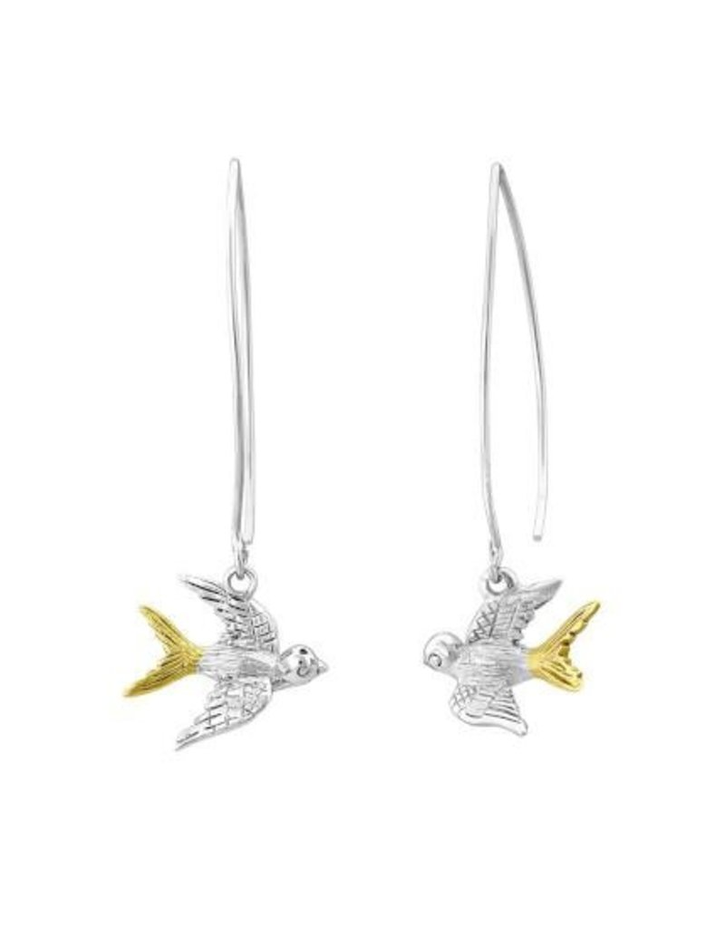 Gallardo and Blaine Swallow Drop Earrings with Silver and Gold