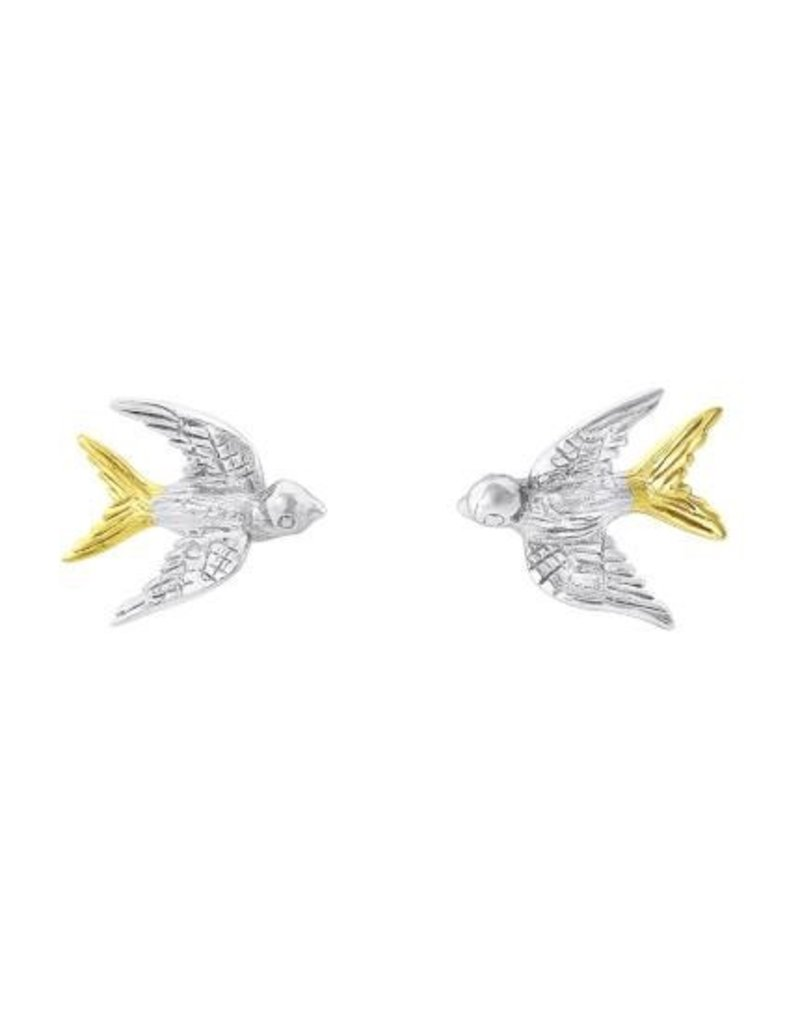 Gallardo and Blaine Swallow Stud Earrings with Silver and Gold
