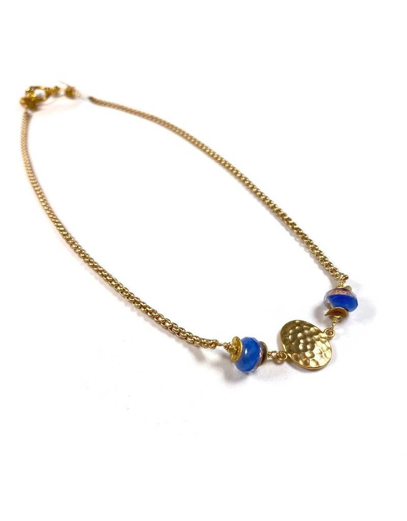 Vivien Walsh Gold Textured Disc Necklace Blue