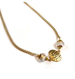 Vivien Walsh Gold Textured Disc Necklace White