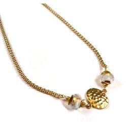 Vivien Walsh Gold Textured Disc Necklace White