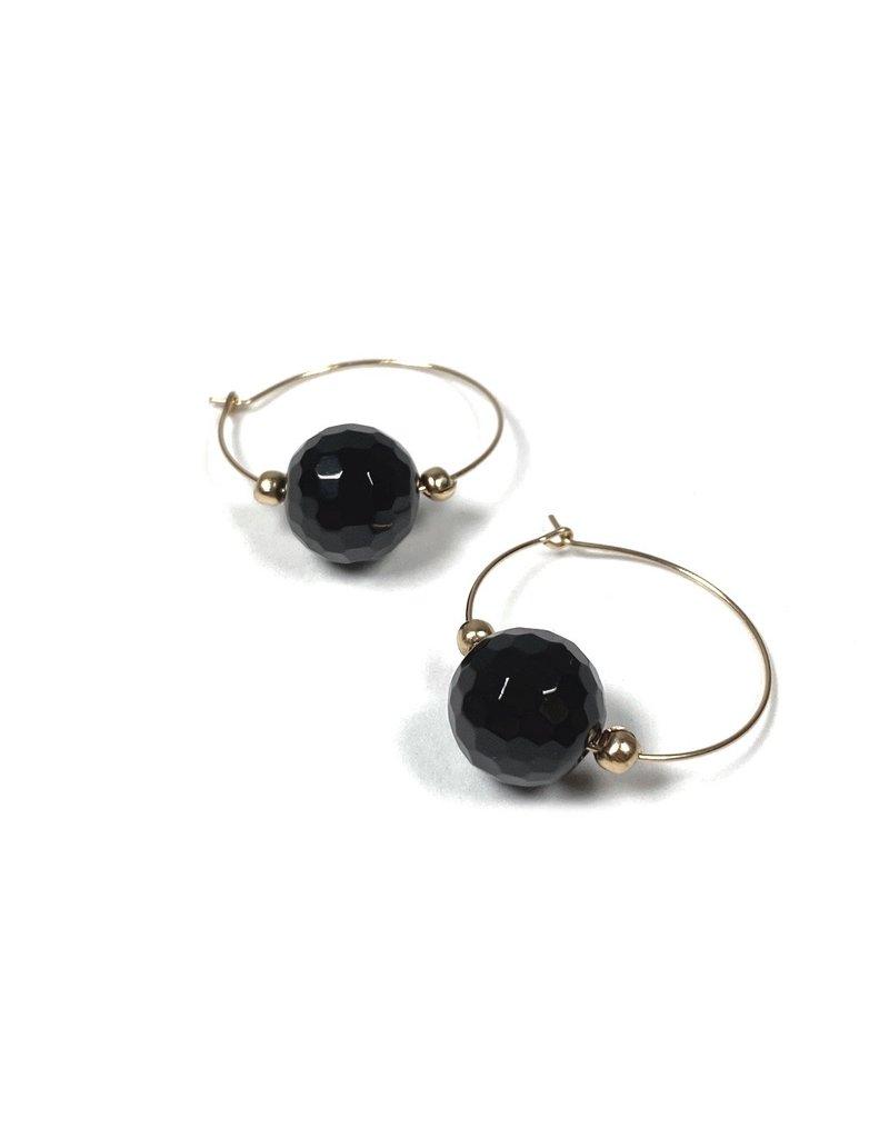 Vivien Walsh Black Onyx Hoop Earrings