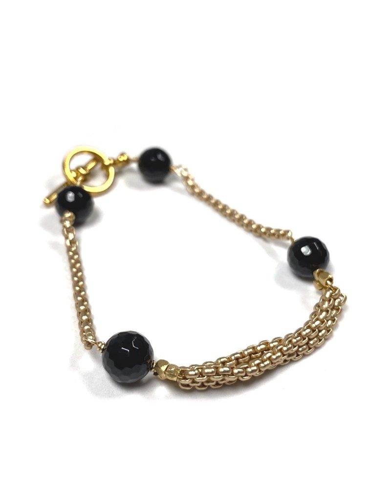 Vivien Walsh Black Onyx Chain Lines Bracelet