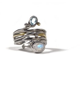 Gallardo and Blaine Snake Ring with Topaz and Moonstone