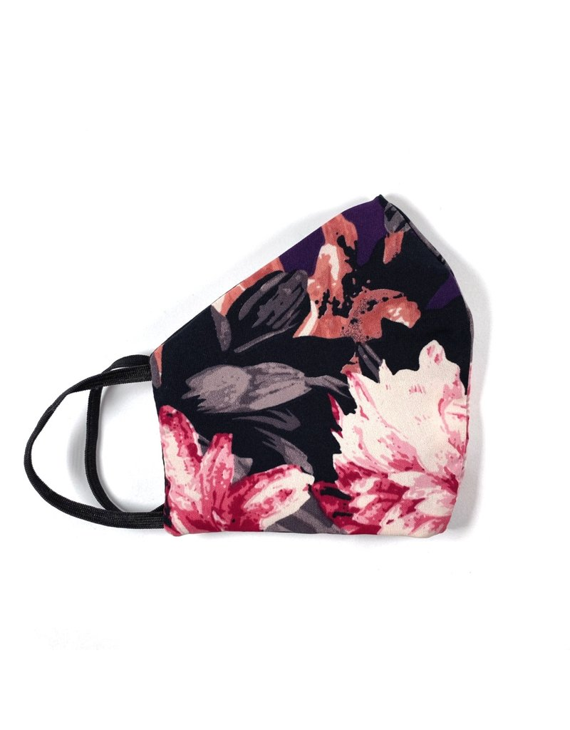 MOG Face Mask - Black and Purple Floral