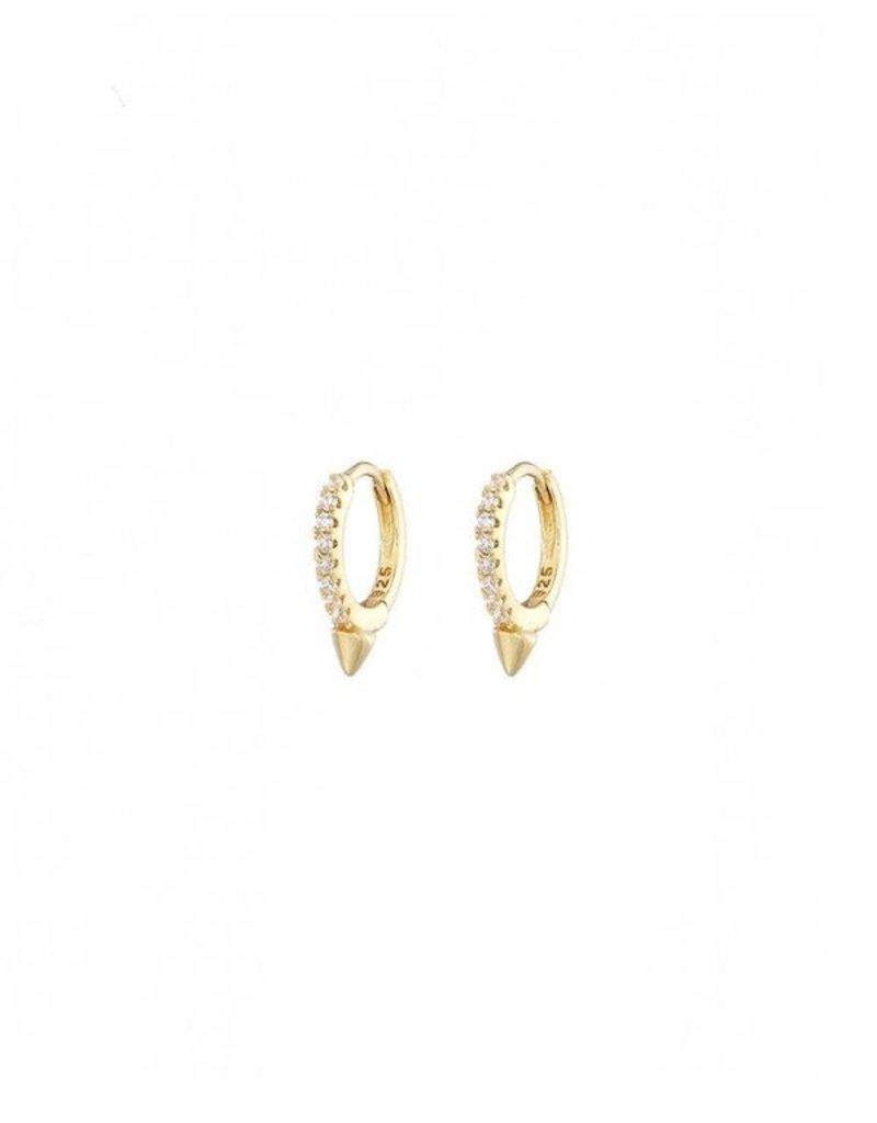Mary k Jewellery Gold Tiny Spike Pave Huggie Earrings