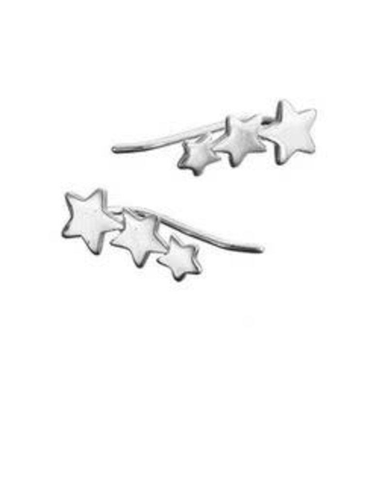 Mary k Jewellery Silver 3 Star Climber Earrings