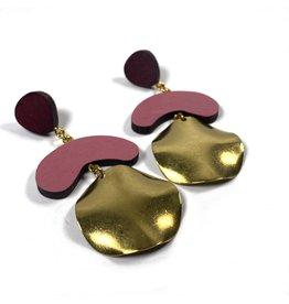 Shock Of Grey Megadrop Brass Earrings - Pink