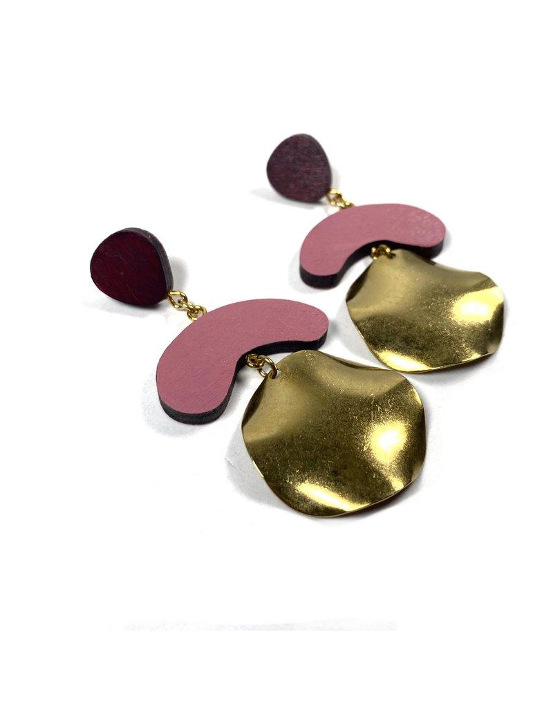 Shock Of Grey Megadrop Brass Earrings Pink