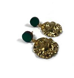 Shock Of Grey Cornflake Earrings - Green