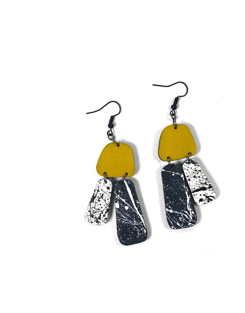 Shock Of Grey Aoife Statement Earrings - Yellow and Grey