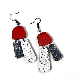 Shock Of Grey Aoife Statement Earrings - Red and Grey