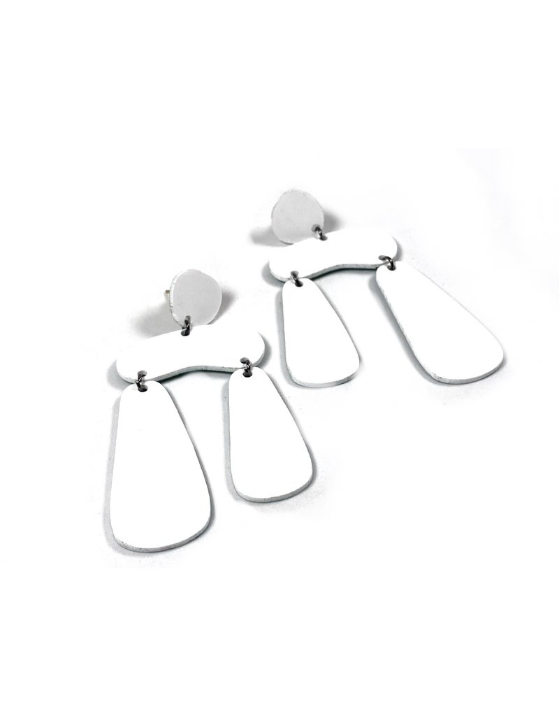 Shock Of Grey Dolmen Statement Earrings - White and Green