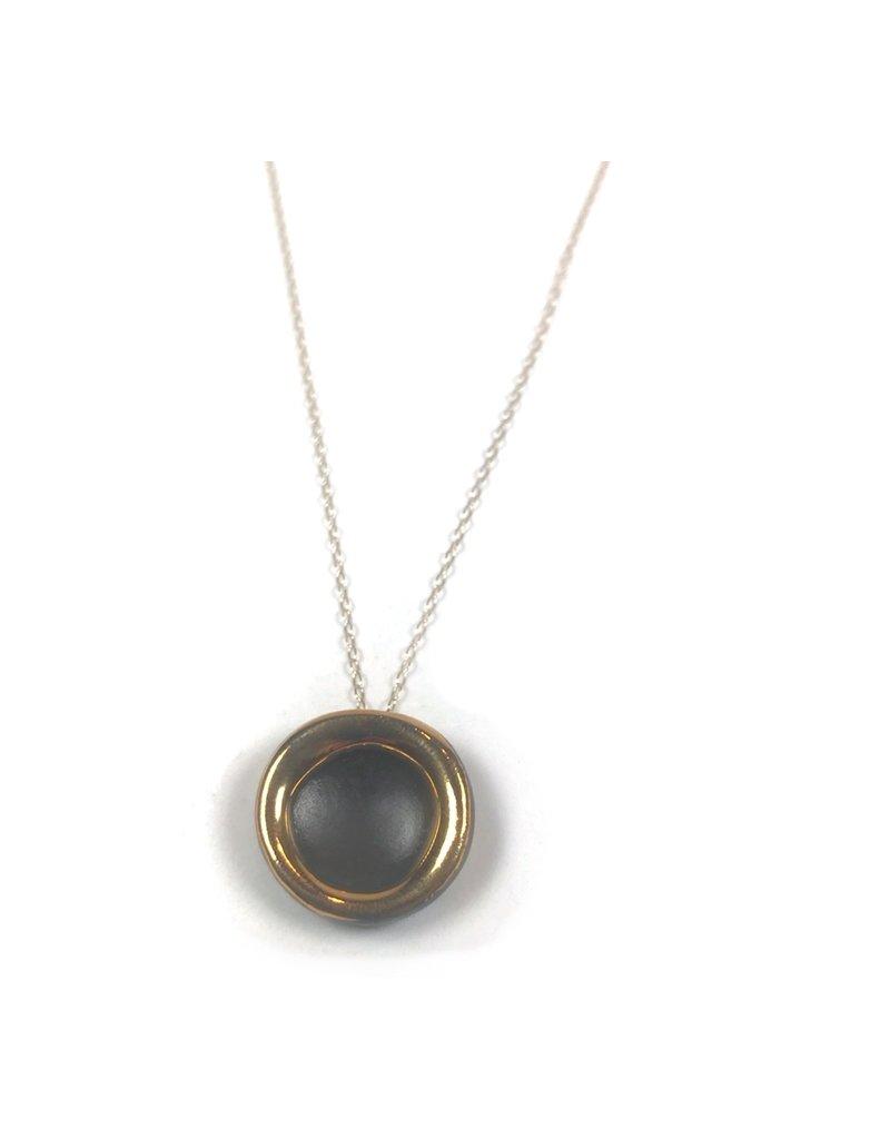 Danu Porcelain and Gold Halo Necklace - Black
