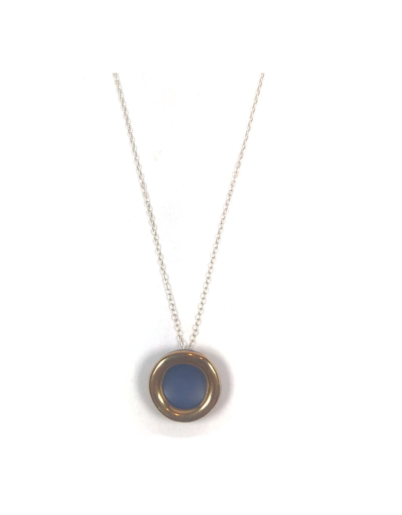 Danu Porcelain and Gold Halo Necklace - Blue