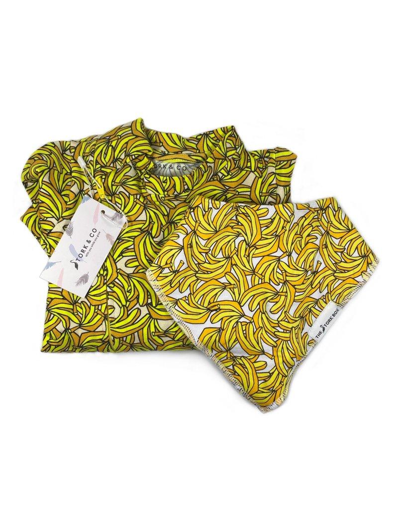 The Stork Box Banana Dribble Bib and Sleepsuit Gift Set