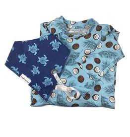 The Stork Box Coconut Dribble Bib and Sleepsuit Gift Set
