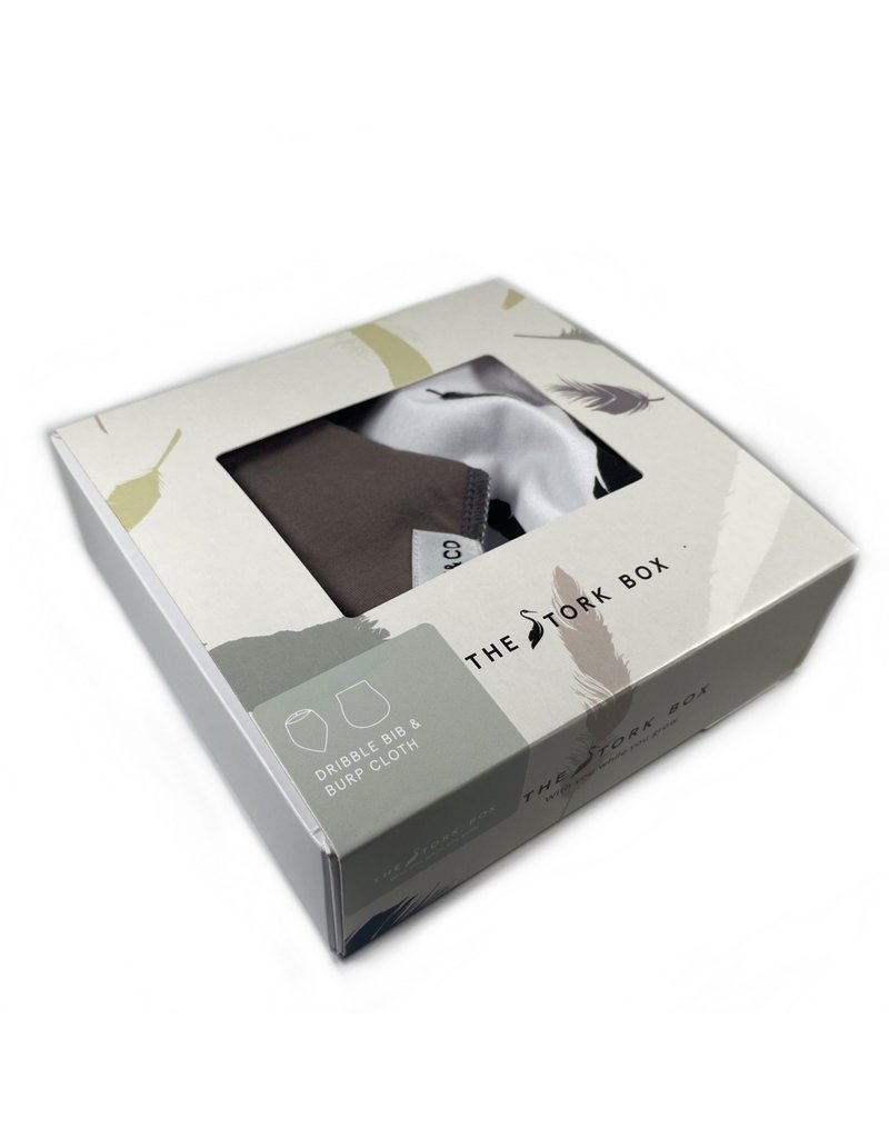 The Stork Box Feather and Grey Dribble Bib and Burp Cloth Gift Set