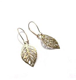 Kaiko Studio Delicate Brass Leaf Earrings
