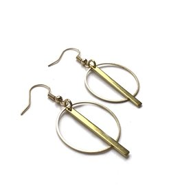 Kaiko Studio Small Geometric Circle and Bar Brass Earrings