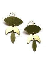 Kaiko Studio Statement Lotus Brass Earrings