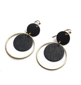 Kaiko Studio Black Statement Circle Brass Earrings