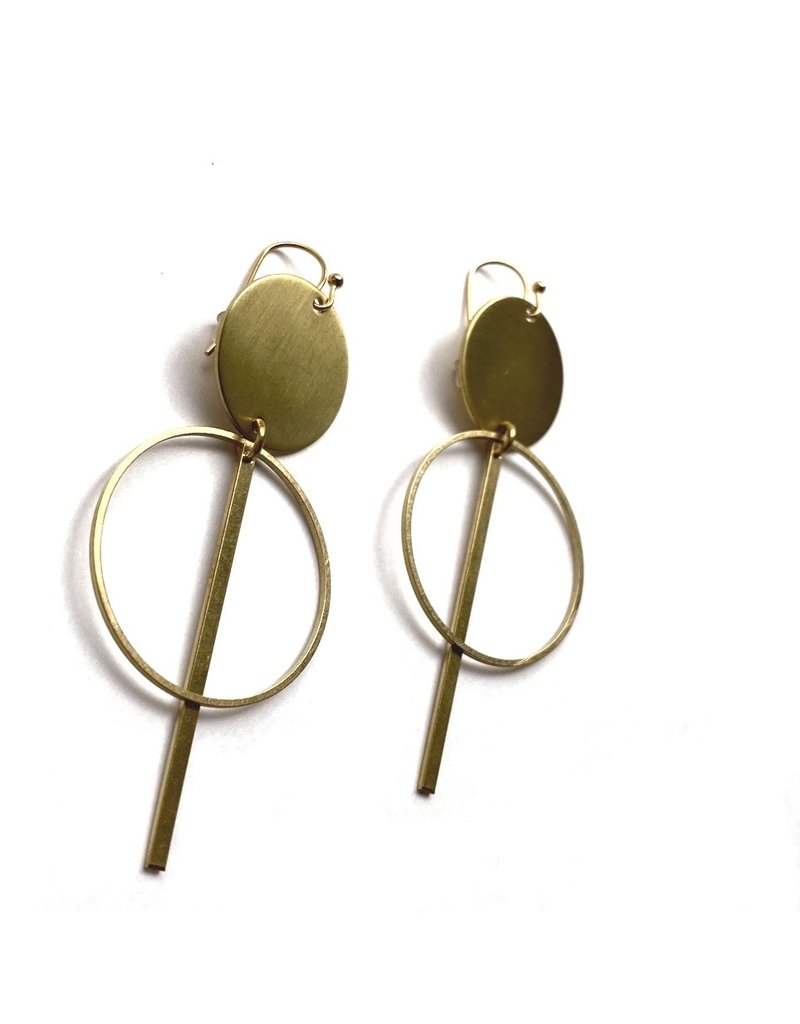 Kaiko Studio Statement Double Circle and Bar Brass Earrings