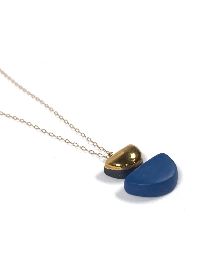 Danu Porcelain and Gold Semi Circle Necklace - Blue