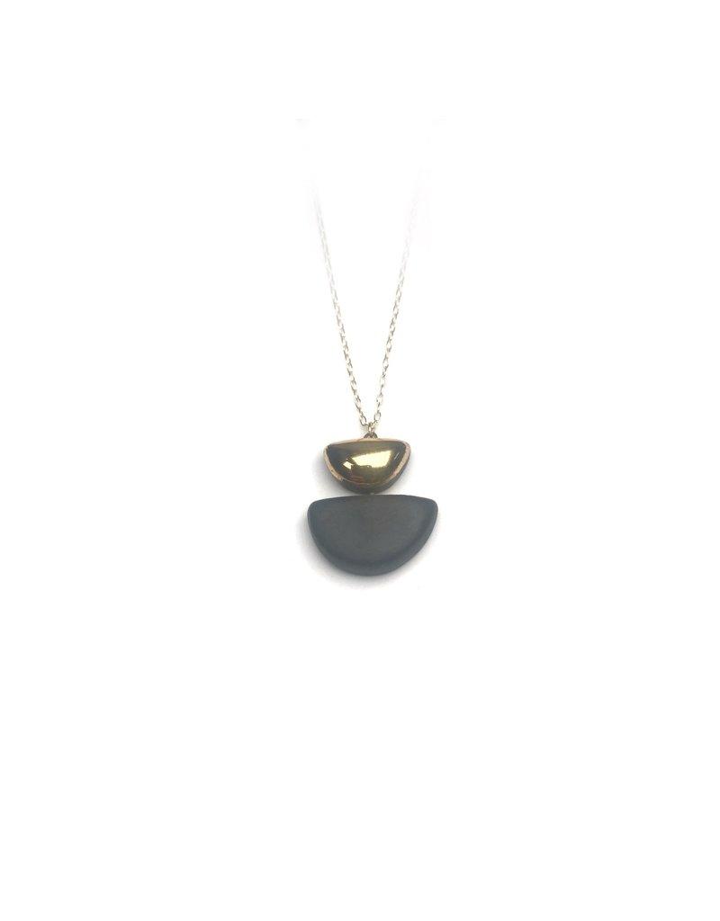 Danu Porcelain and Gold Semi Circle Necklace - Black