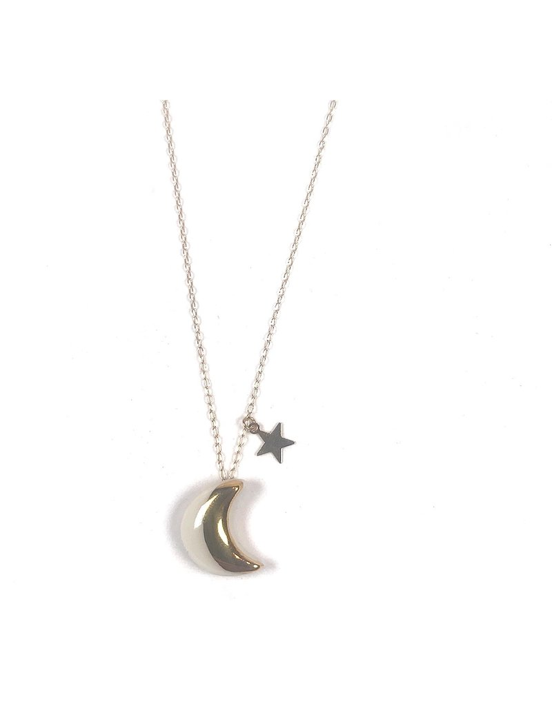 Danu Porcelain and Gold Moon and Star Necklace - White