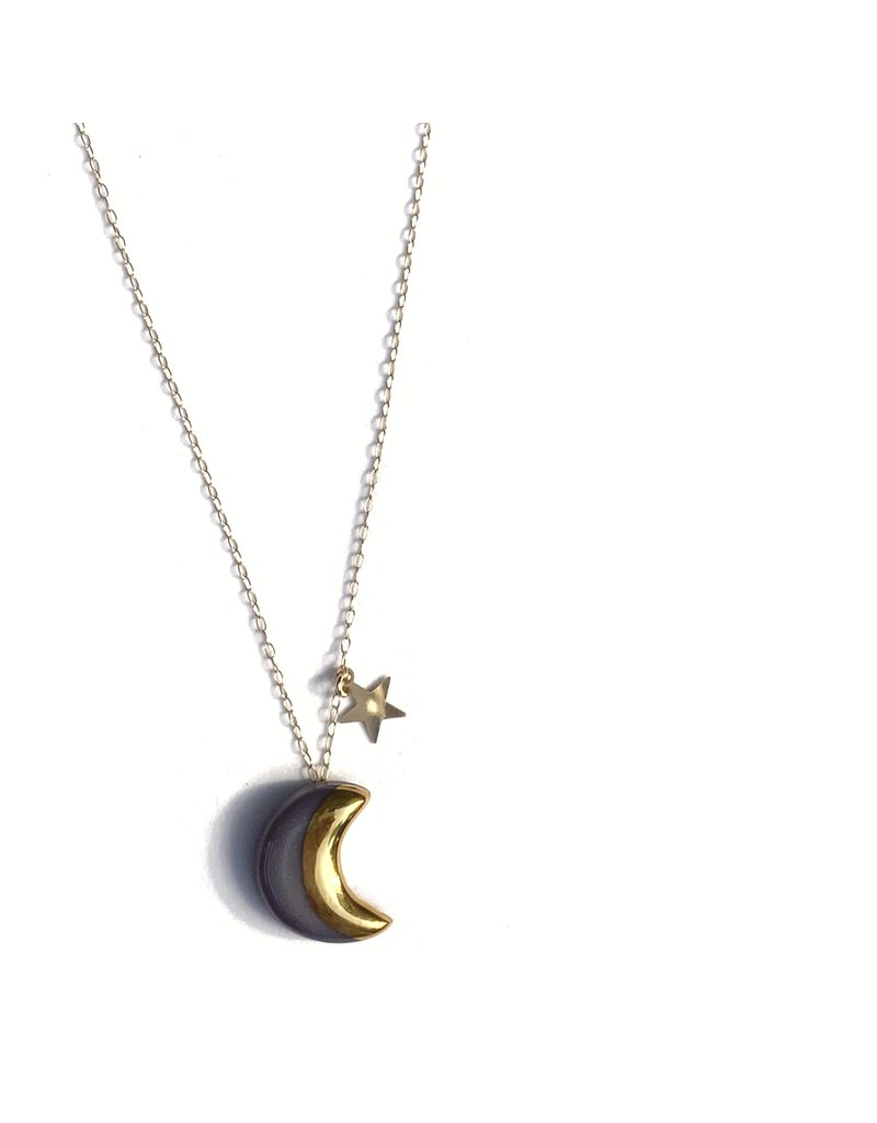 Danu Porcelain and Gold Moon and Star Necklace - Purple