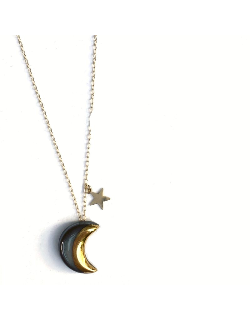 Danu Porcelain and Gold Moon and Star Necklace - Black