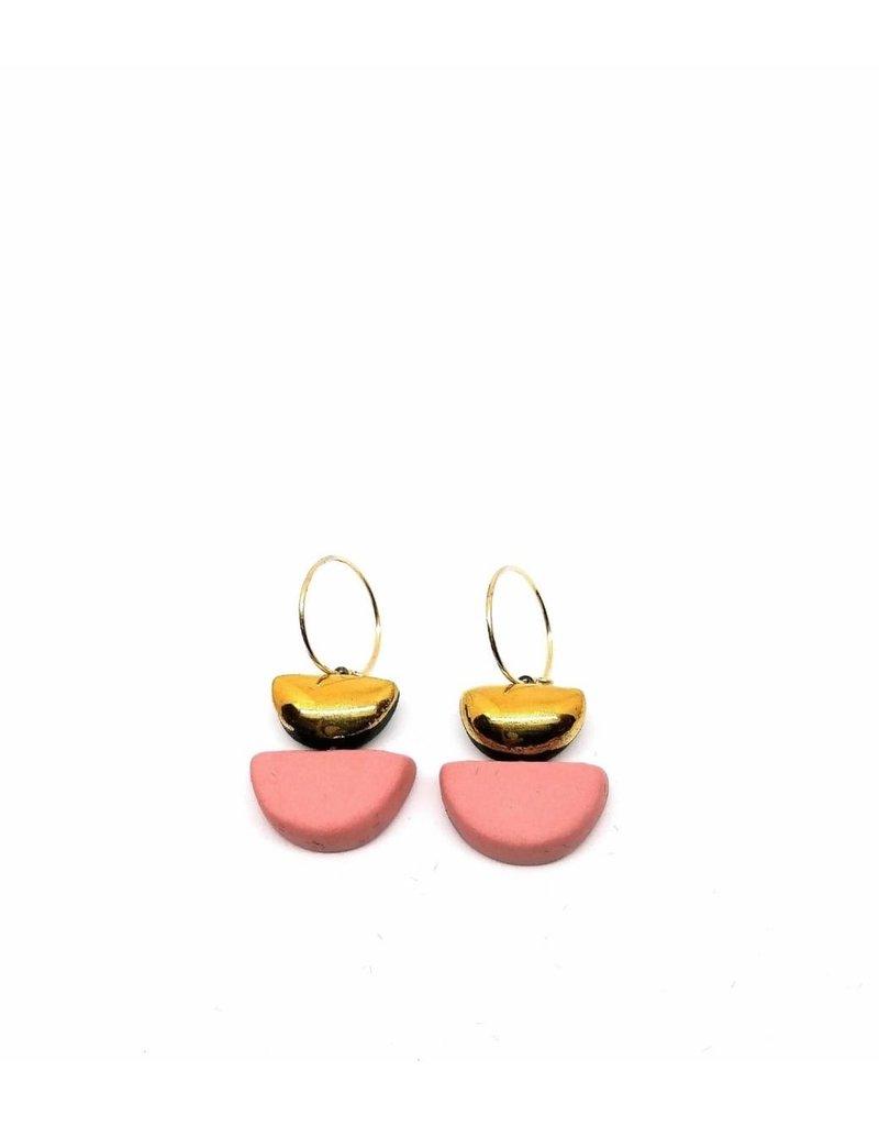 Danu Porcelain and Gold Semi Circle Earrings - Pink