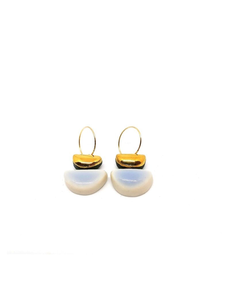 Danu Porcelain and Gold Semi Circle Earrings - White