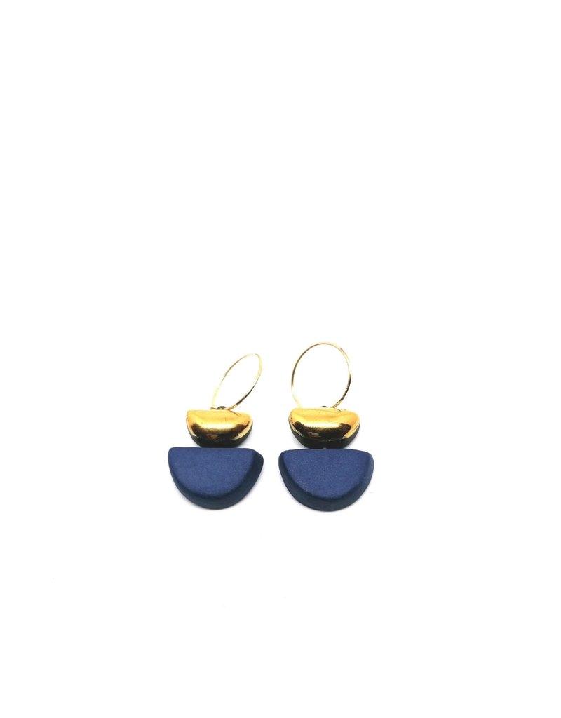 Danu Porcelain and Gold Semi Circle Earrings - Blue