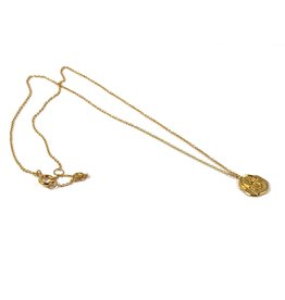 Mary k Jewellery Small Gold Textured Coin Necklace