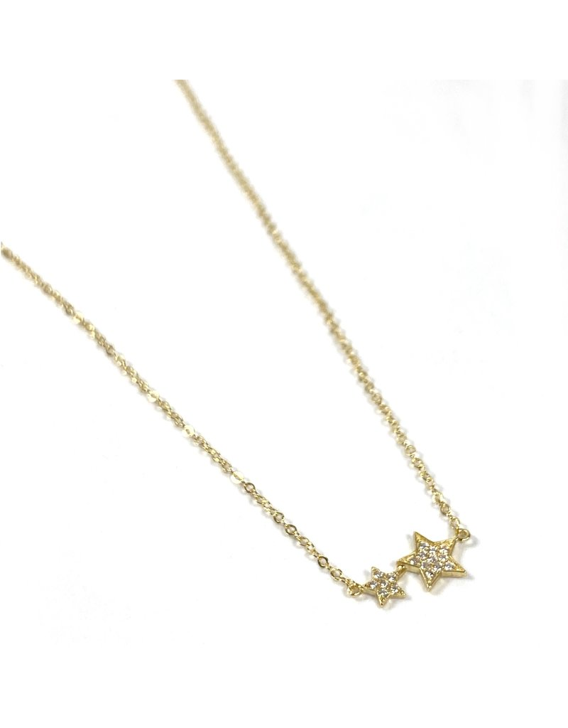 Mary k Jewellery Gold Pave Double Star Necklace
