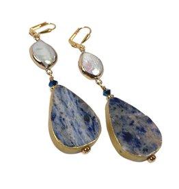 KKajoux Jewels Marble Blue Drop Earrings
