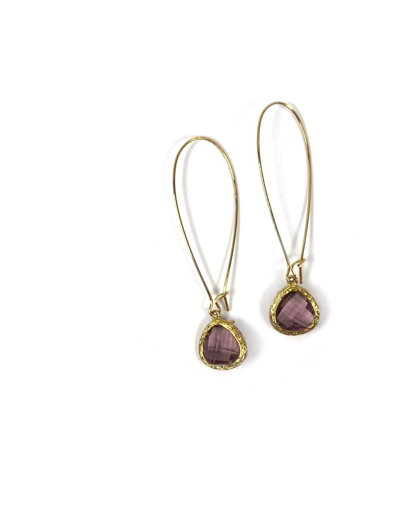 KKajoux Jewels Roman Plum Teardrop Long Earrings