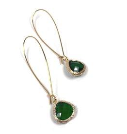 KKajoux Jewels Roman Green Teardrop Long Earrings