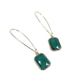 KKajoux Jewels Emerald Deco Drop Long Earrings
