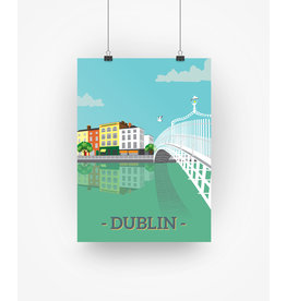 Ha'penny Design Dublin City A4 Print