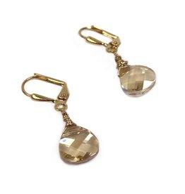 KKajoux Jewels Briolette Golden Short Drop Earrings