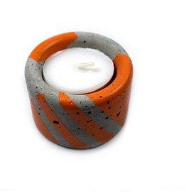 Ail+El Bright Orange Concrete Tea Light Candle Holder